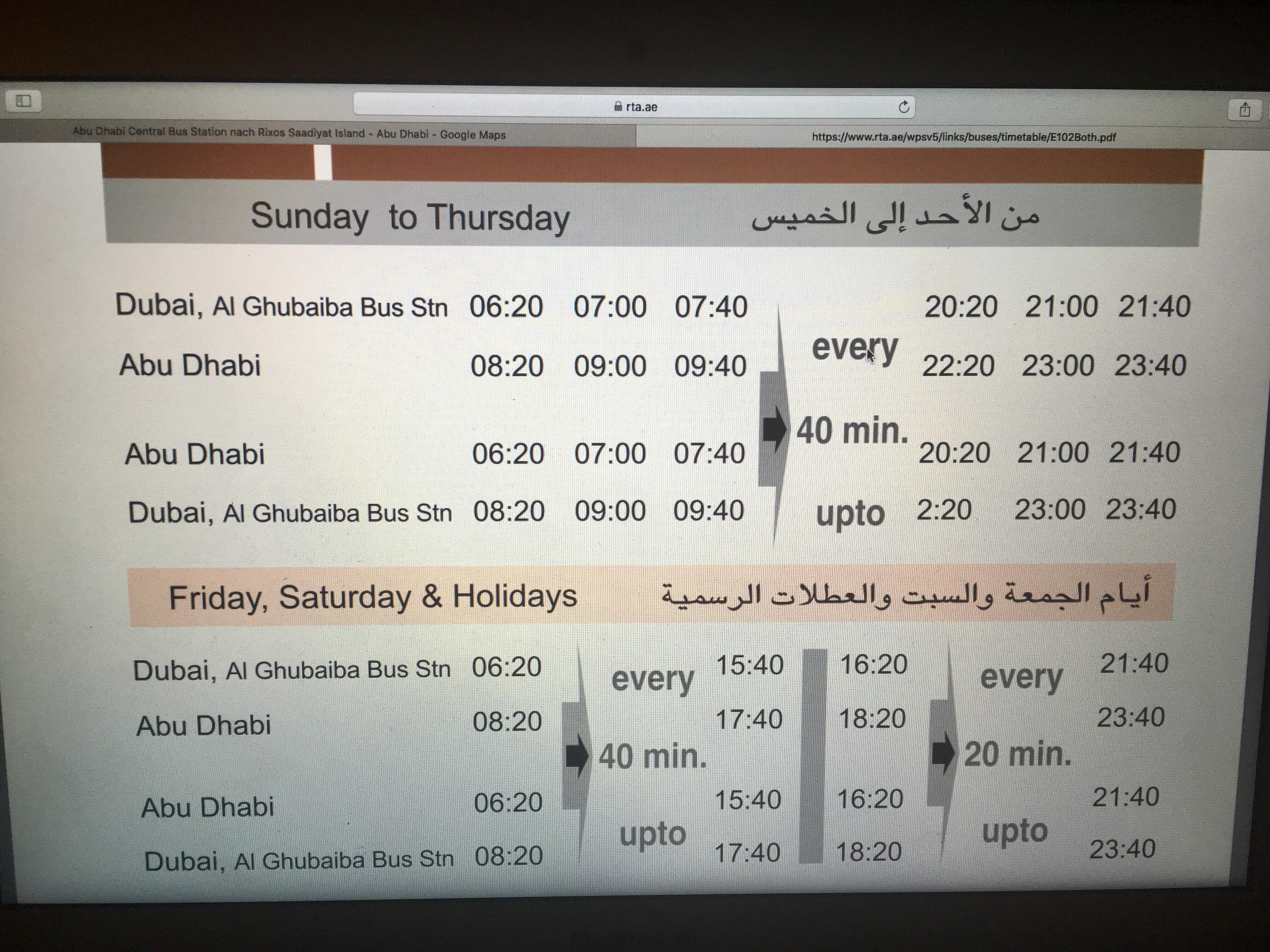 Fahrplan Bus Dubai nach Abu Dhabi