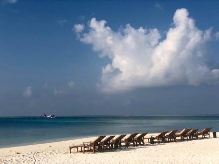 Vom Strand das Anreisen neuer Gäste mit dem Wasserflugzeug beobachten